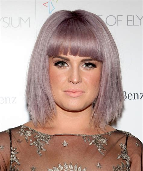 bangs are jagged and blunt kelly osbourne medium straight casual bob hairstyle with