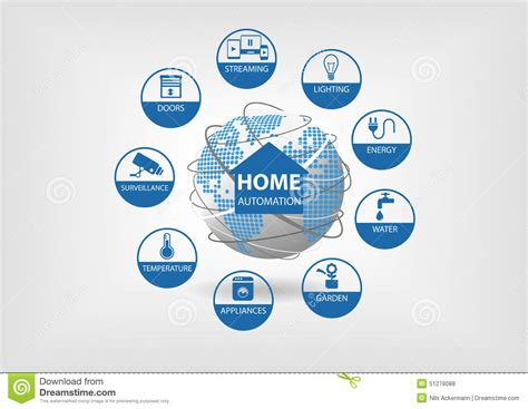 vector illustration with different line icons smart home