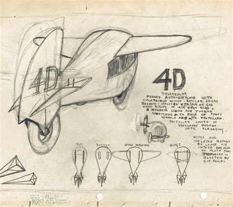 4d Sketches by Sketch By Buckminster Fuller Of His 4d Auto Airplane