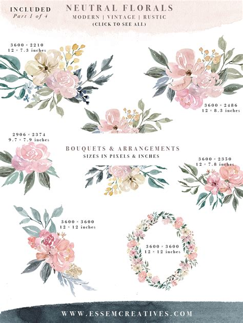Home Color Palette 2017 by Neutral Watercolor Flowers Clipart Floral Borders