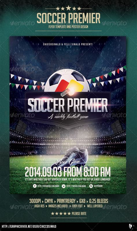 free soccer flyer template soccer premier flyer template graphicriver