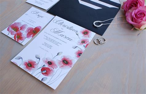 poppy wedding invitations poppy wedding invitation handpainted with watercolors 187 bohemian mint