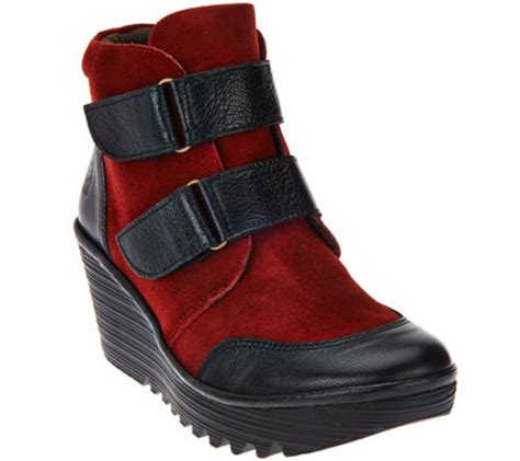 fly suede wedge boots yugo page 1 qvc