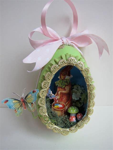 easter egg diorama printable paper craft ooak easter egg diorama ornament vintage style papier