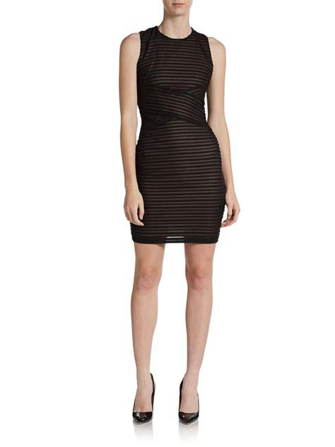 Calvin Klein Illusion Striped Knit Dress In Black Black