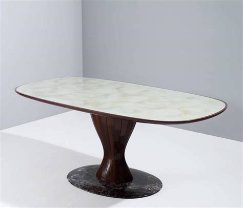 Glass And Marble Dining Table Italian Pedestal Dining Table In Wood Marble And Glass For Sale At 1stdibs
