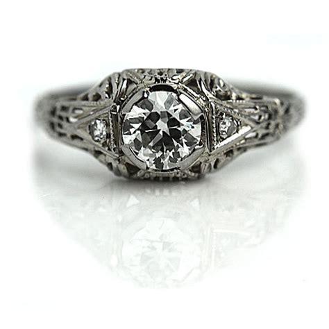 deco filigree engagement rings deco engagement ring antique engagement ring 60 ct european cut filigree 18 kt