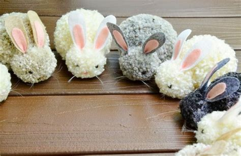 pom pom craft projects diy pom pom easter bunny easy cheap craft decor