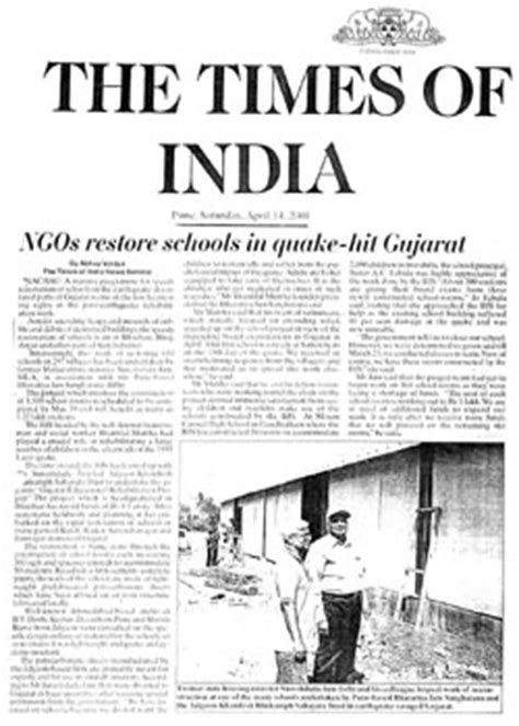 Newspaper Report Writing On Earthquake In Gujarat by Bharatiya Jain Sanghtana