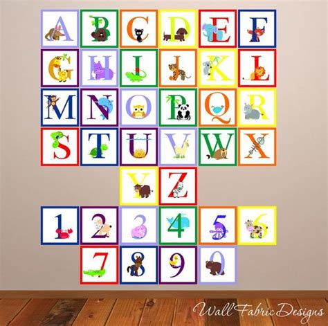 alphabet and number wall stickers animal alphabet with numbers wall decal childrens