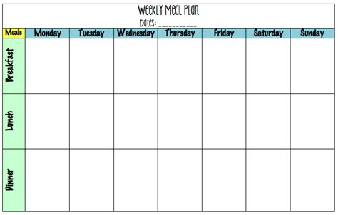 weekly meal planning template search results for 7 day meal planning template