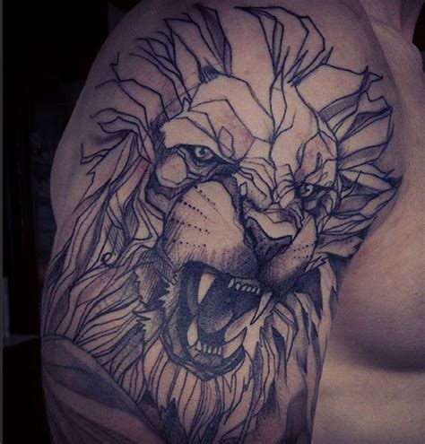 geometric jesus tattoo geometric lion shoulder tattoo best tattoo design ideas