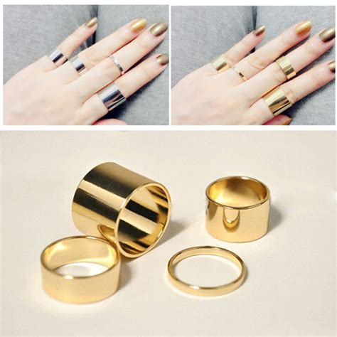 aiwgx 4 pics set gold silver simple design thin rings midi