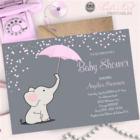 Baby Elephant Shower Invitations by Elephant Baby Shower Invitation Elephant Holding Umbrella