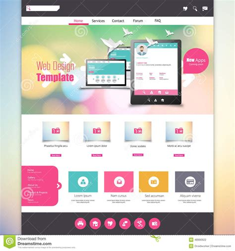 Flat Colorful Website Template With Clean Modern Design Stock Vector Image 48990922 Colorful Website Templates