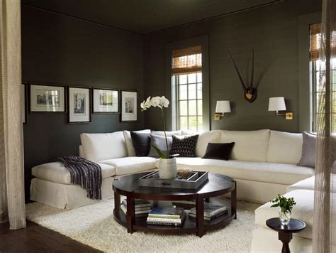 white sectional  gray walls transitional living