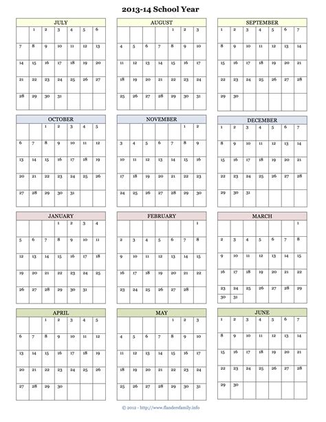 printable yearly school calendar printable academic calendar the flanders family website
