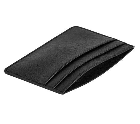 textured leather card holder black