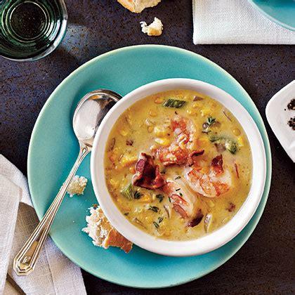 Corn Chowder Two Ways Beginner Expert by Bacon Corn Chowder With Shrimp Recipe Myrecipes