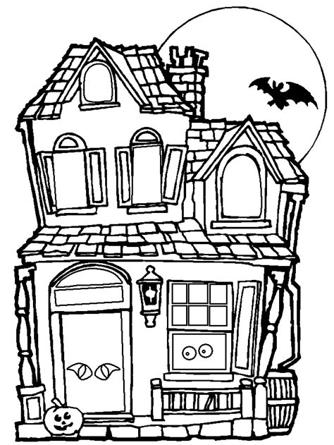 halloween haunted house coloring pages getcoloringpagescom