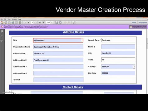 tutorial sap adobe forms sap interactive forms by adobe vendor master creation in