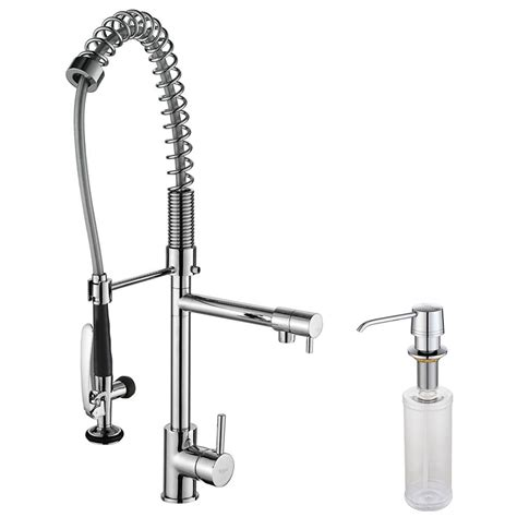 kraus single lever pull out kitchen faucet and soap
