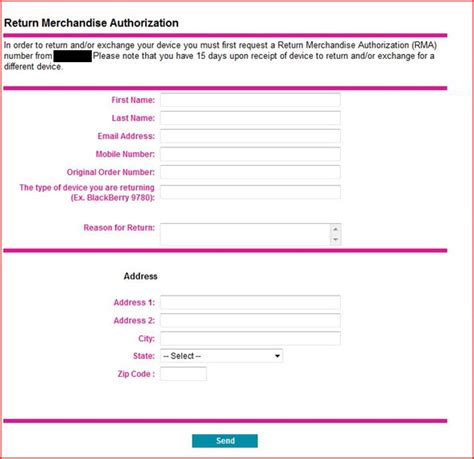 rma document template return authorization form images