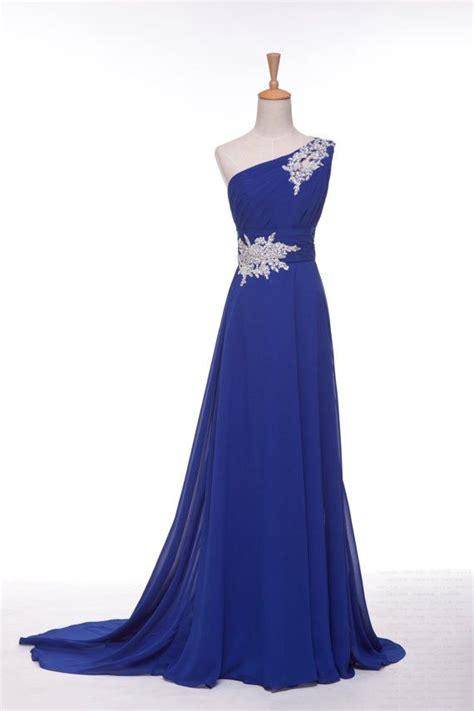 Handmade Evening Dresses - handmade royal blue one shoulder prom dress with applique