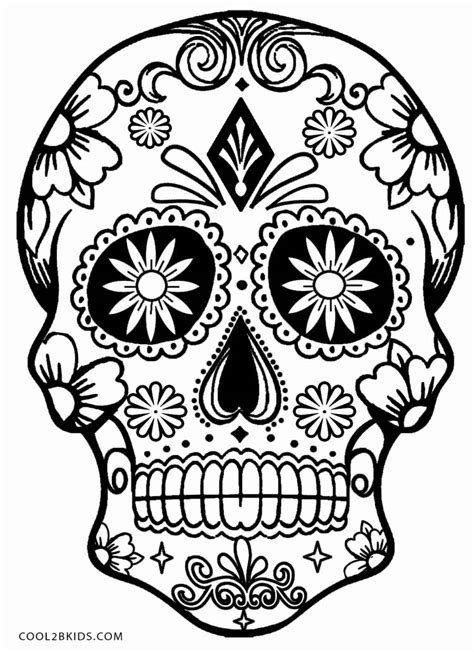 sugar skull coloring page printable skulls coloring pages for cool2bkids