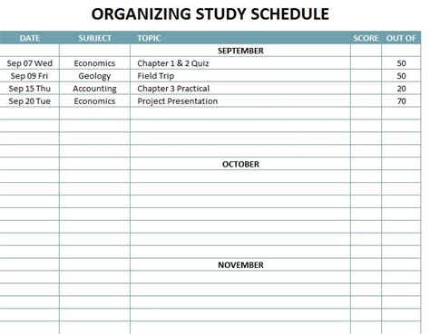 organizing schedule template organizing study schedule