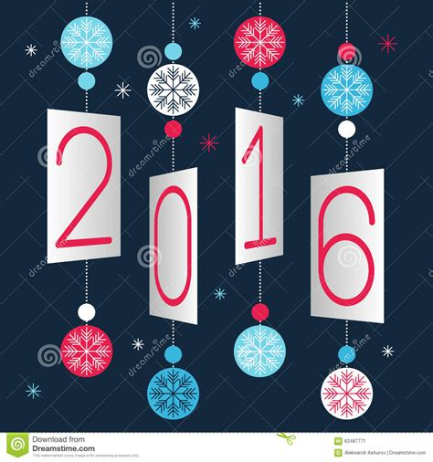 Card Banner Template by Merry And Happy New Year 2016 Stock Illustration