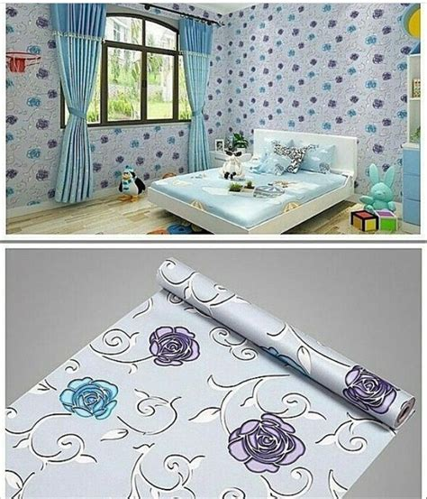 jual wallpaper dinding sticker mawar biru   lapak