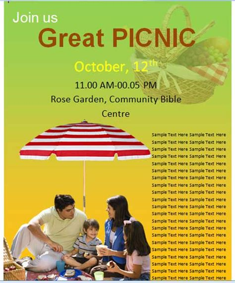 church picnic flyer templates church picnic quotes quotesgram