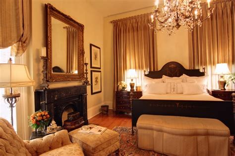 Grand Guest Bedroom With Painted Iron Bed And Silk Drapery Grand Bedroom Designs