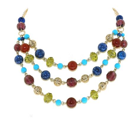 1928 multi colour beaded layered necklace in multicolor gold