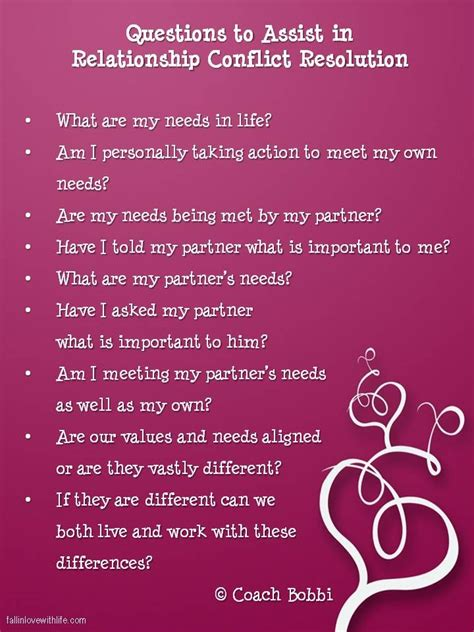questions to assist in relationship conflict resolution 169 ask coach www fallinlovewithlife
