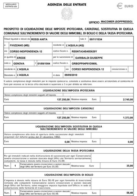 ufficio successioni roma come si compila il prospetto di liquidazione per successione