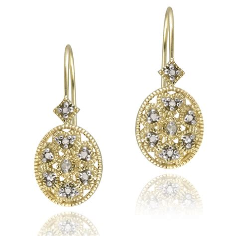ebay earrings gold over silver diamond filigree leverback earrings ebay