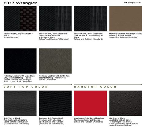 best interior colors for 2017 2017 wrangler jk information thread jeep garage jeep forum