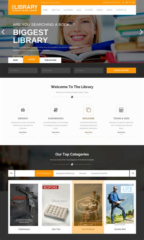 ecommerce website templates for books 16 online library website templates themes free