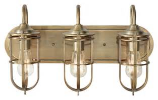 Nautical Bathroom Light Fixtures Feiss Vs36003 Dab Renewal Nautical Bath Lighting Antique Brass Finish Mf Vs36003 Dab