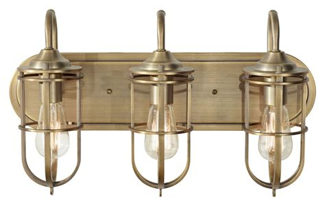 Nautical Bathroom Lighting Feiss Vs36003 Dab Renewal Nautical Bath Lighting Antique Brass Finish Mf Vs36003 Dab