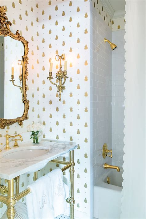 White And Gold Bathroom Ideas by White And Gold Bathroom With Barbara Barry Simple Scallop