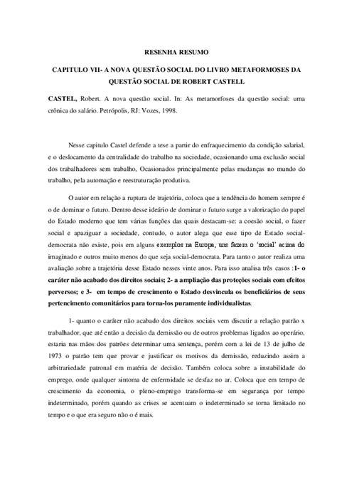 (DOC) RESENHA RESUMO CAPITULO VII-A NOVA QUESTÃO SOCIAL DO