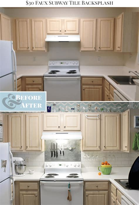 before and after painted tile backsplash curbly 30 faux subway tile painted backsplash tutorial