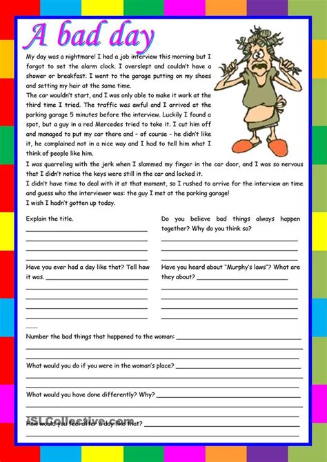 free printable reading prehension worksheets for esl