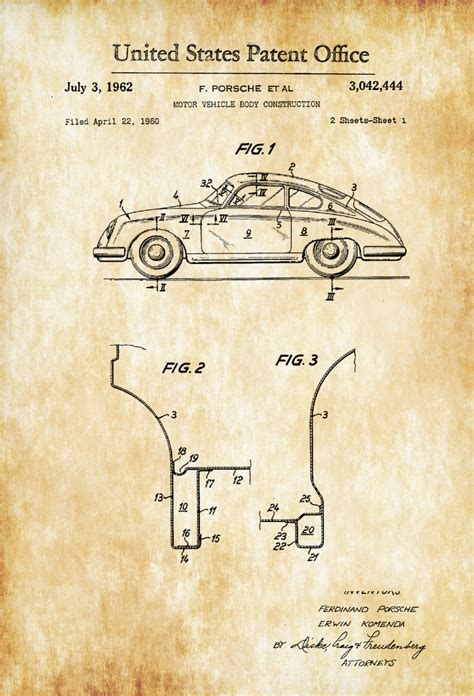 Garage Blue Prints 1962 porsche patent patent print wall decor automobile