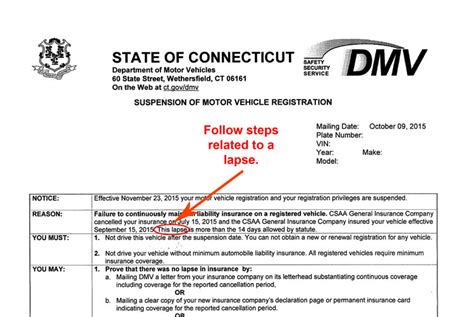 Insurance Policy Lapse Letter Format Dmv Pay For Insurance Registration Not Currently Suspended