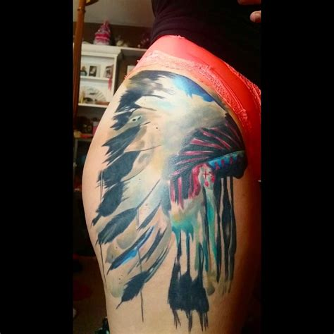 native american headdress tattoo american headdress leg venice