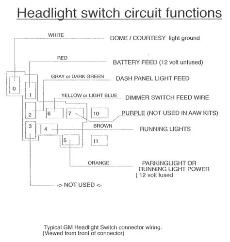 gm headlight switch circuit functions american autowire
